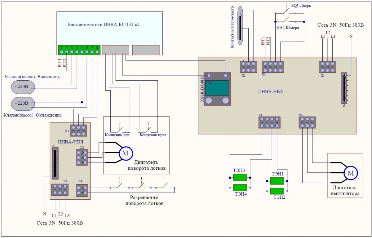 общая схема подключения для инкубатора Универсал