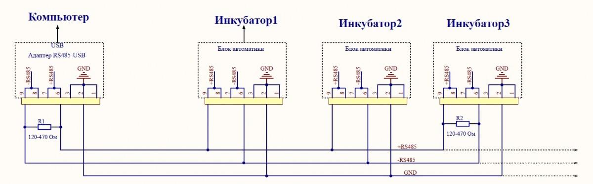 Схема подключения инкубаторов