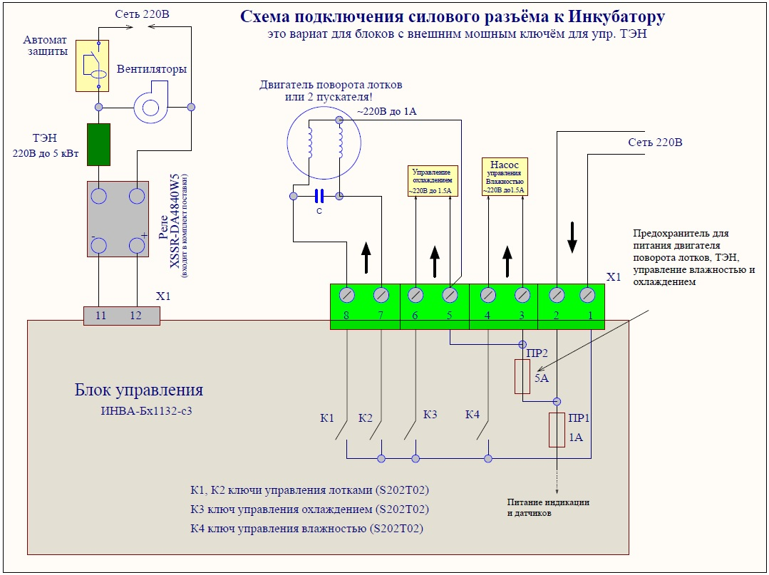 Схема подключения силовой части инкубатора